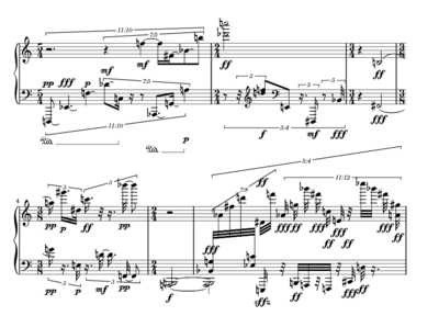 Stockhausenin ensimmäisen pianokappaleen alkua.