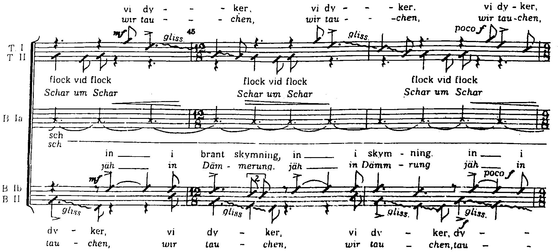 Bergman: Fåglarna (näyte summittaisten säveltasojen jaksosta)