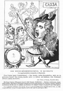 """Avioliitto-juhlanäytös Bayreuthissa. Frau Cosima (liikenainen): """"Sisään vaan hyvä Herrasväki, katsomaan ennennäkemätöntä taidetta!Sisään, lapset alle 10  v. ja sotilaat kenttävääpelistä  alaspäin, puolella hintaa!"""
