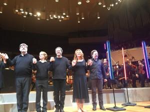 Franz-Josef Selig (Arkel), Tölzer Knabenchorin solisti (Yniold), Gerald Finley (Golaud), Magdalena Kožená (Mélisande) ja Christian Gerhaher (Pelléas). Kuva Jari Kallio.
