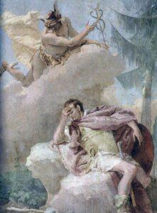 Giambattista Tiepolo, 1757. Mercurius ilmestyy Aeneakselle.