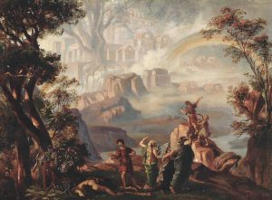 Josef Hoffmannin luonnos, Reininkullan 4. kohtaus Valhalla; Bayreuth 1875.