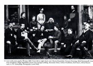 Franz Liszt oppilaidensa ympäröimänä (Derek Watsonin elämäkerrasta).