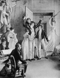 Schubertiadi. Leopold Kupelwieserin akvarelli 1821 esittäen tableau vivantia.